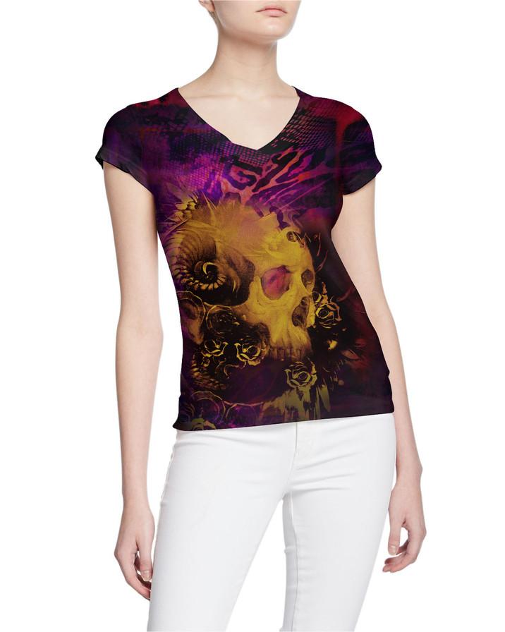 Ladies-V-Tshirt-Skull-with-Roses-Tattoo-