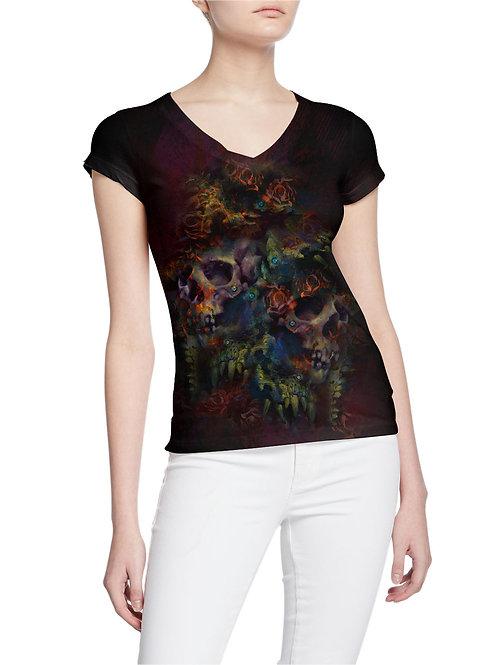 Colorful Skulls and Roses Tattoo Design Women T-shirt