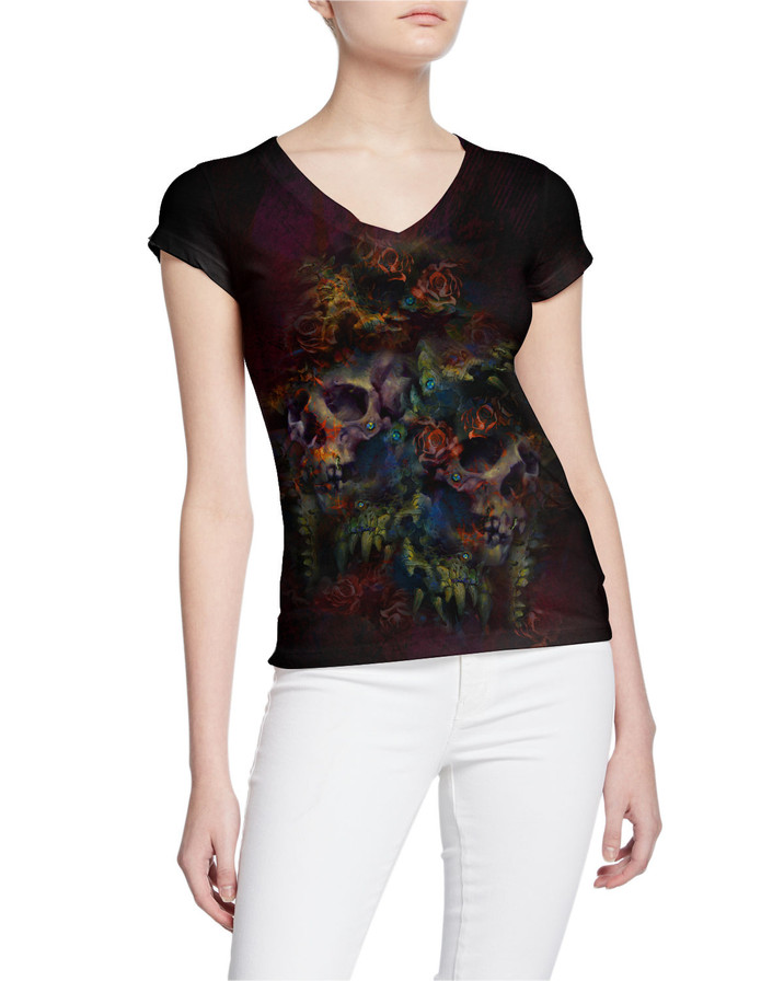 Ladies-V-Tee-DemonSkulls-and-Colorful-Ro