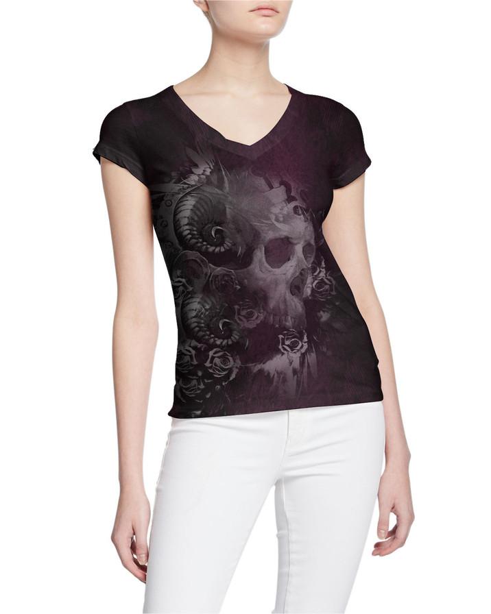 Ladies-V-Tshirt-Raw-Stressed-tattoo-Skul