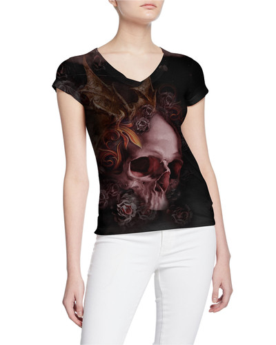 Ladies-V-Tshirt-Stressed-DemonSkull-Tatt