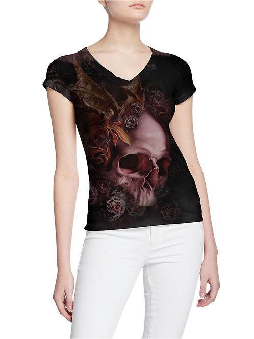 Stressed-Demon Vamp Winged Skull and Roses Pierced Women T-shirt
