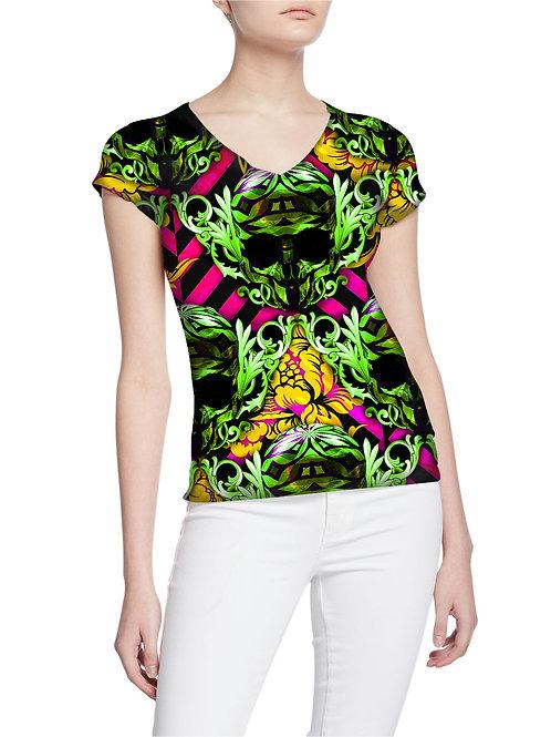 Dazzling-Royalty Golden Diamond Skulls Pattern Women T-shirt