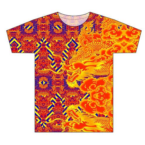 -Original Golden Fire Dragon Pattern Man T-shirt
