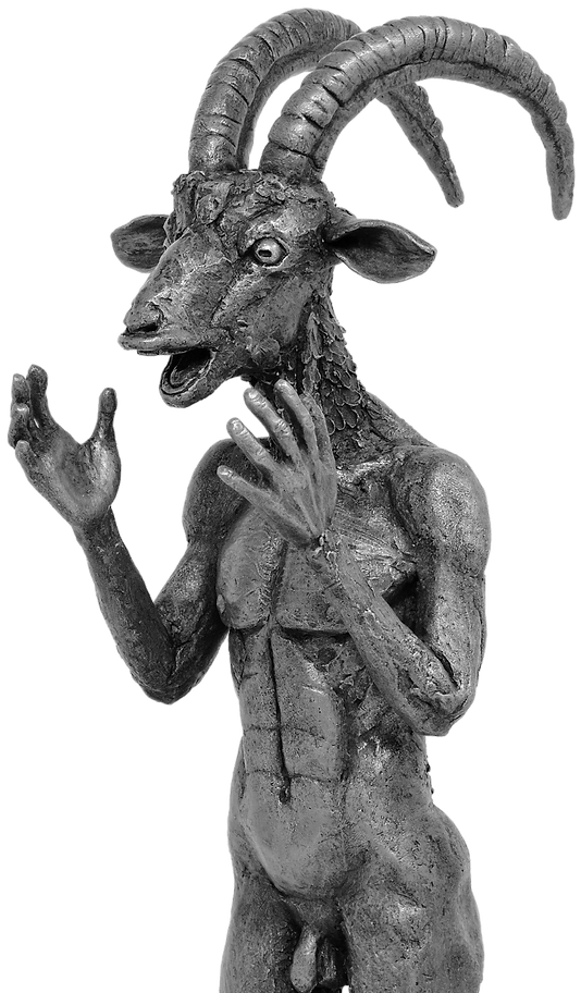 The Púca - A ibex-headed human form, open-mouthed and shocked