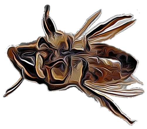 The styalised image of a prone bee.