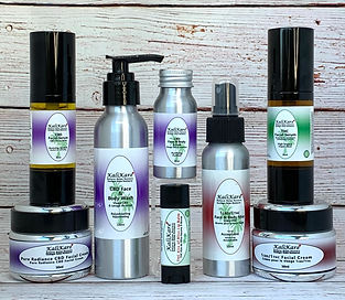 IMG bottles & jars color coded cannabis infused facial products