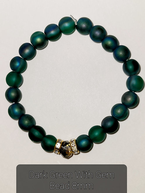Dark Green With Crystal Bead 8MM