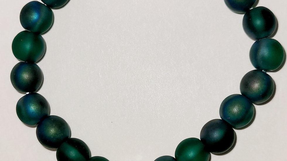 Dark Green With Crystal Bead 8MM