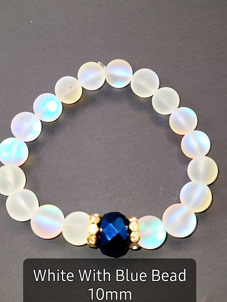 White With Blue Crystal 10MM