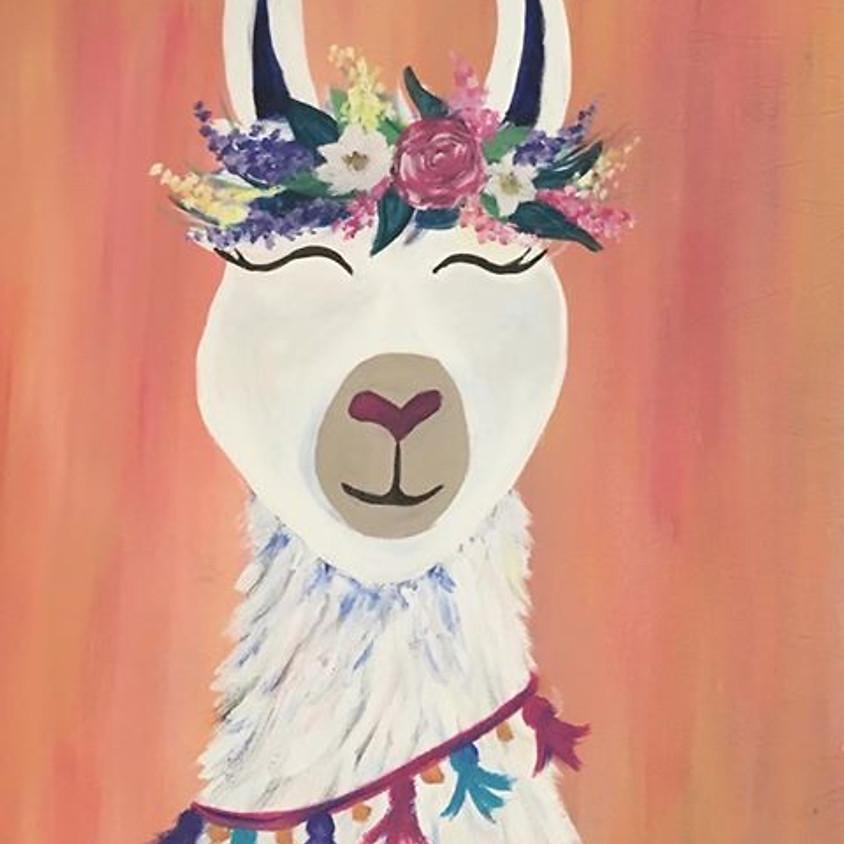 """Kid's Cookies & Canvas """"Boho Llama"""""""