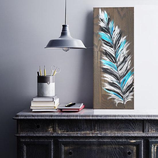 "Take & Paint Home Art Kit: ""Metallic Feather"" Wood Sign"