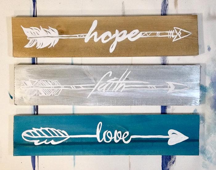 "Take & Paint Home Art Kit: ""Love, Faith & Hope Arrows"" Triple Wood Signs"