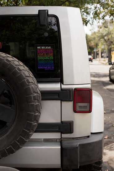 """We Believe"" Bumper Sticker Rectangle"