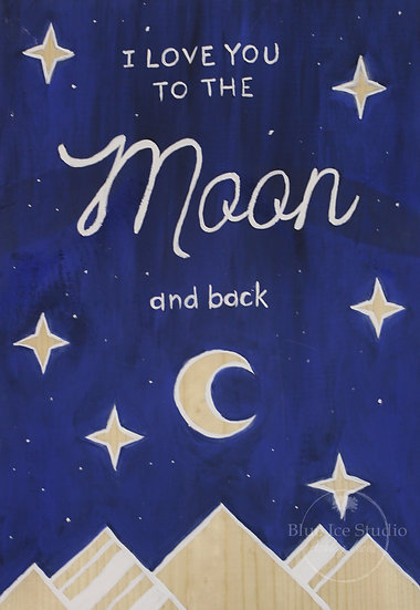 "Take & Paint Paint Home Art Kit: ""Love you to the Moon"" Wood Sign"
