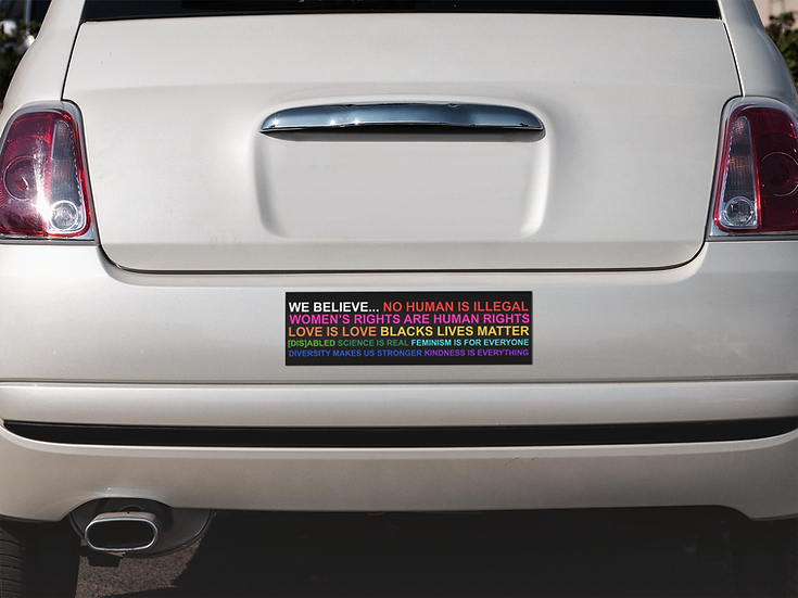 """We Believe"" Bumper Sticker Long Rectangle"