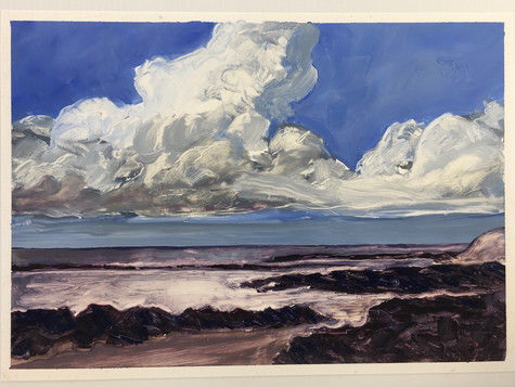 Winter Cloud on the Beach, oil on paper A3