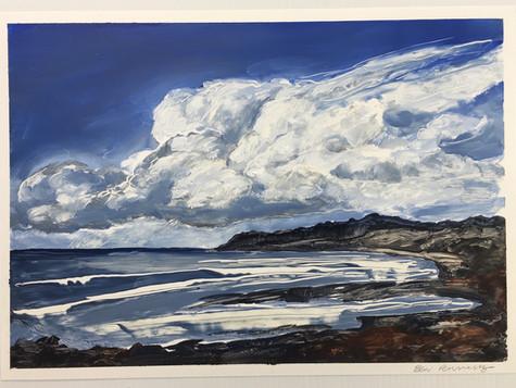 Cloud Over Killarney beach, oil on paper A3