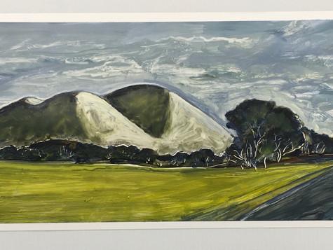 Mt Elephant, oil on paper 74 x 23