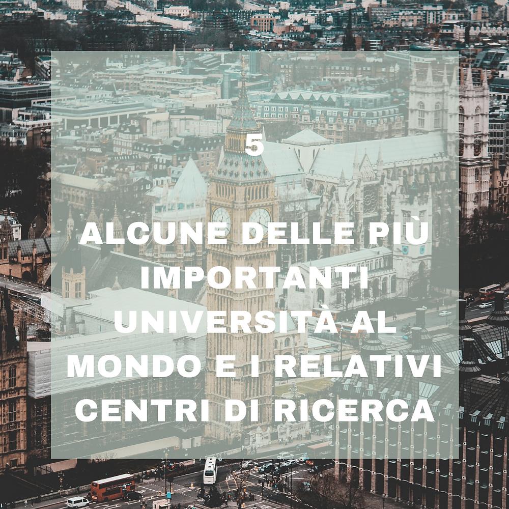 Le università ed i centri di ricerca specializzati