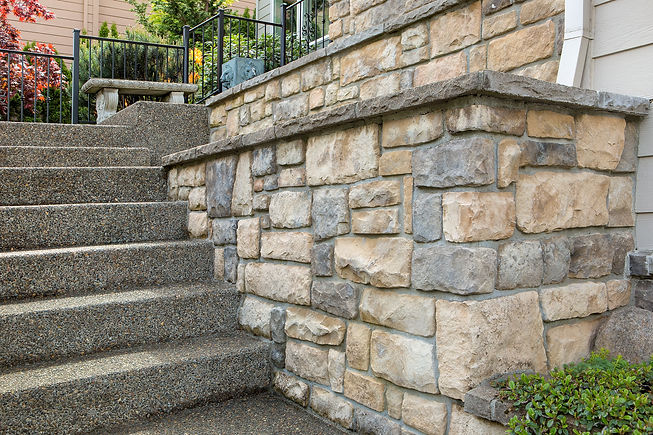 Cultured stone work on front of house in