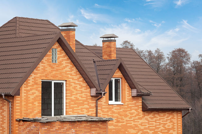 New brick house with modular chimney, St