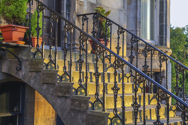 Iron railing and doorsteps, classic hand
