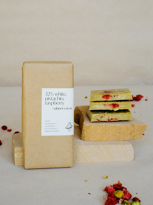 32% white, pistachio, raspberry block