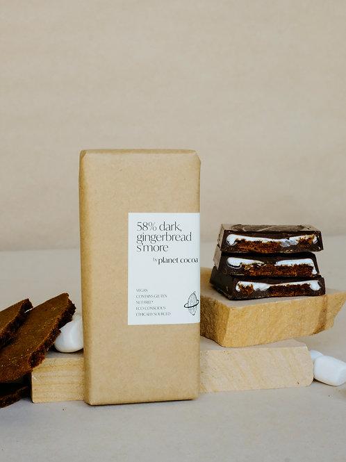 58% dark, gingerbread s'more block