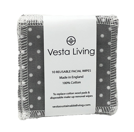 Vesta Living Reusable Cotton Face Wipes - Polka Dot Grey