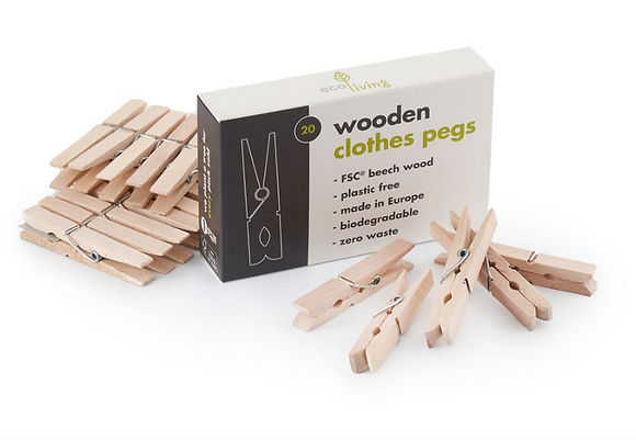 Eco Living Wooden Clothes Pegs
