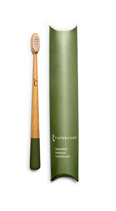 Truthbrush Medium Castor Oil Bristles - Moss Green