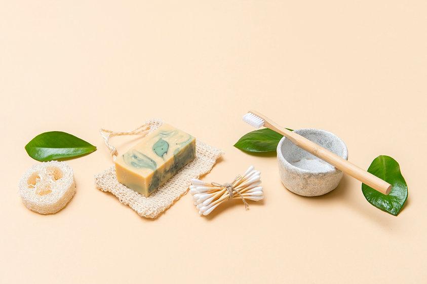 Zero waste bathroom accessories on cream