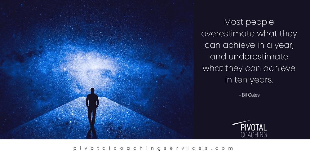 Bill Gates Quote Achievment , man looking at future , stars, galaxy