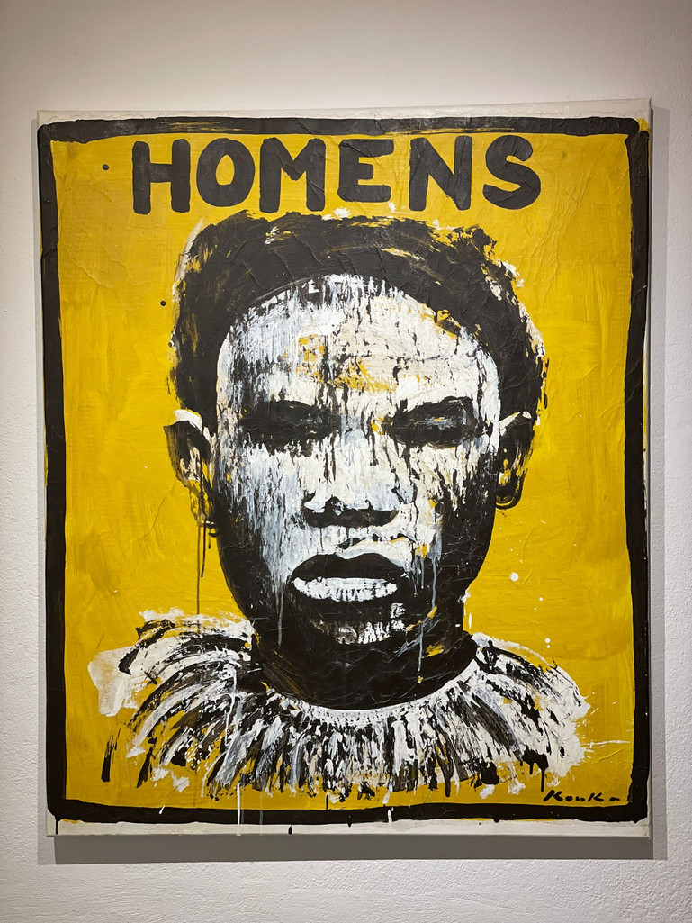"""""""Homens"""" Acrylic on paper pasted.120 x 100cm, 2021"""