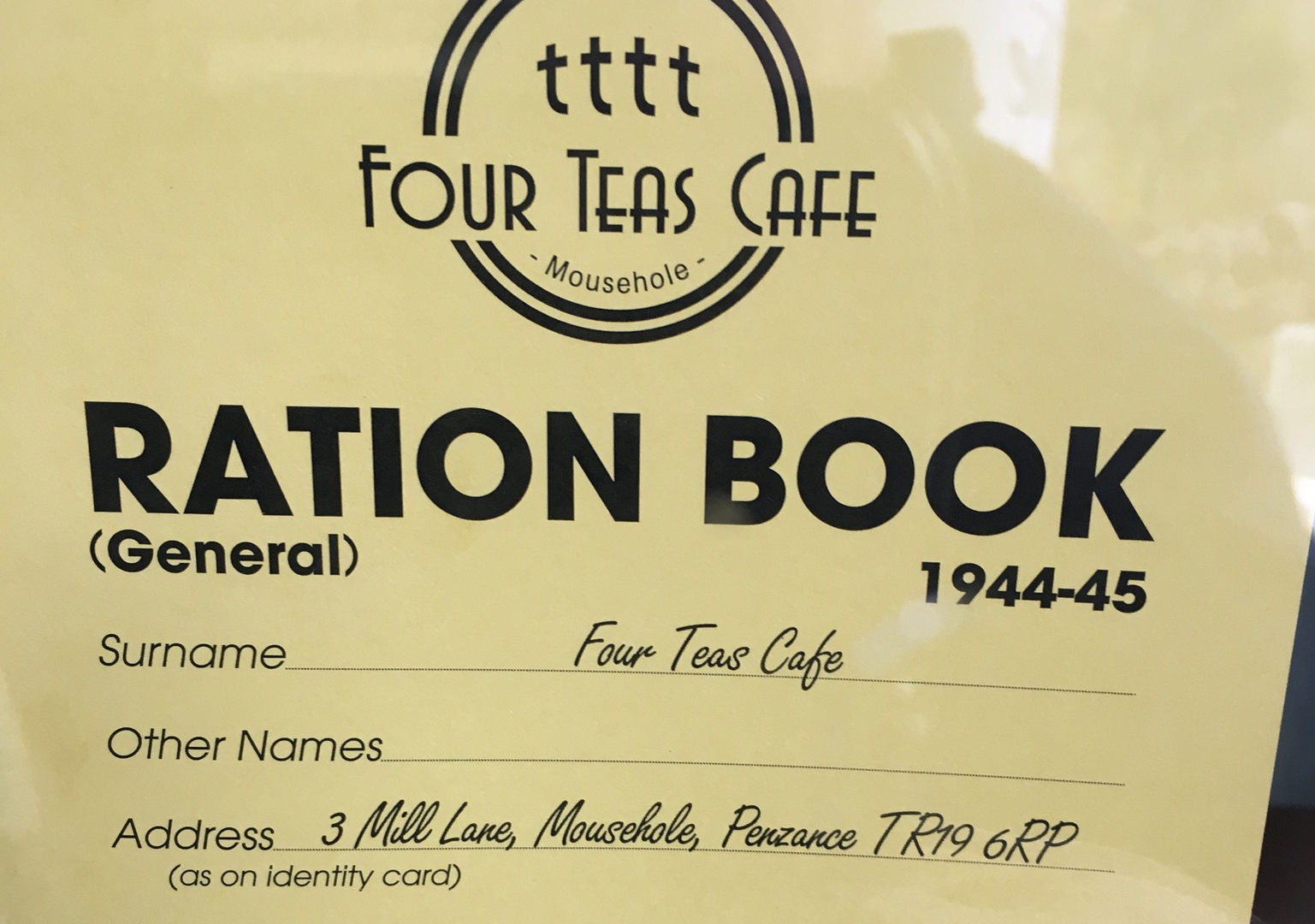 Four Teas Cafe Mousehole Menu Photograph