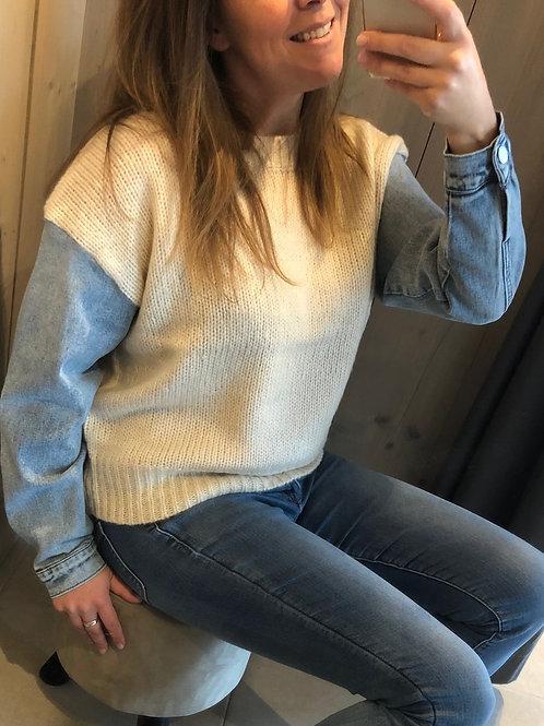 K DESIGN Trui met jeansmouw