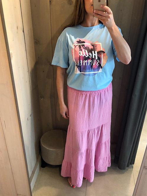 T-shirt hello summer Lichtblauw