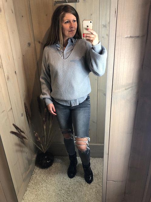 TOXIK ripped grey jeans
