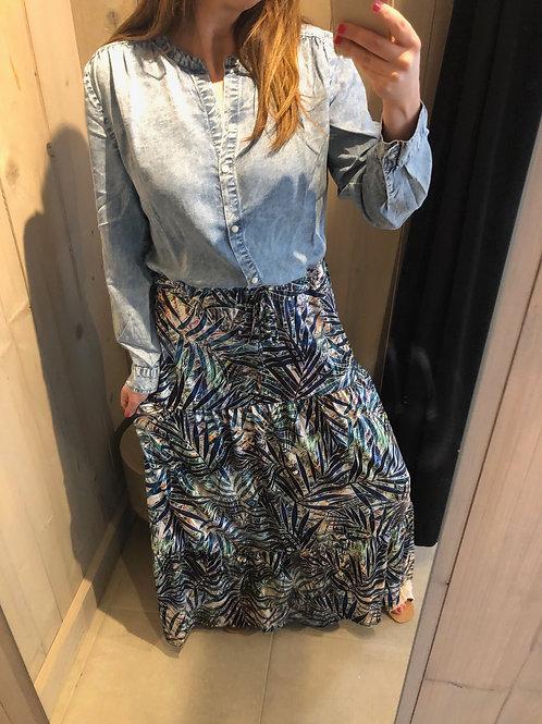 K DESIGN maxi jurk met jeans & print