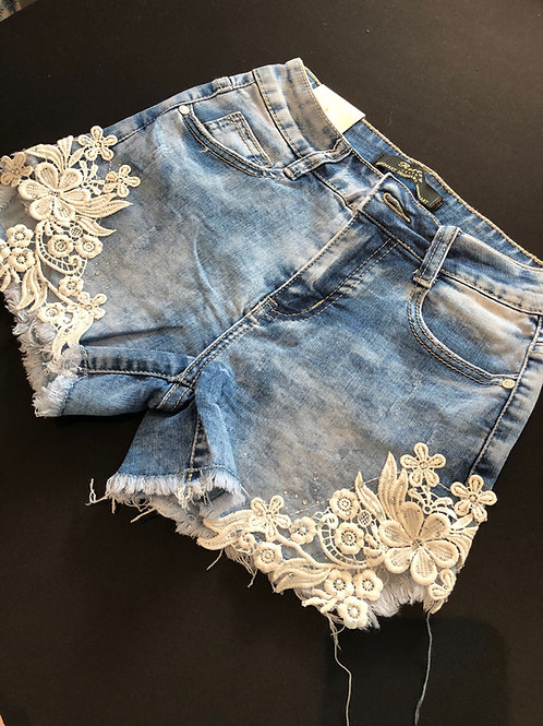 Jeansshort met kant