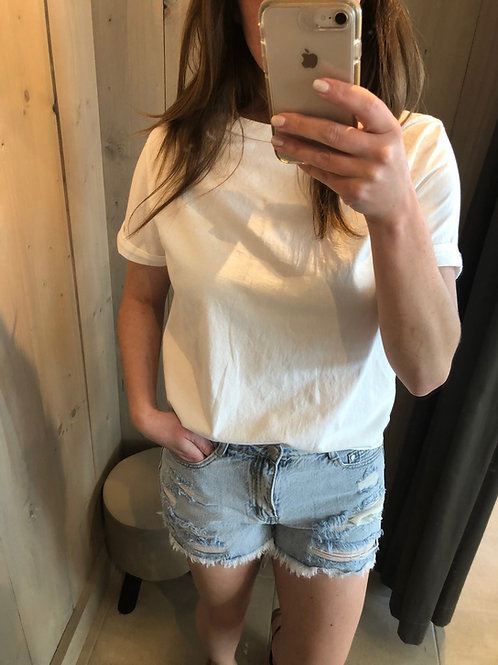 Short ripped light blue jeans