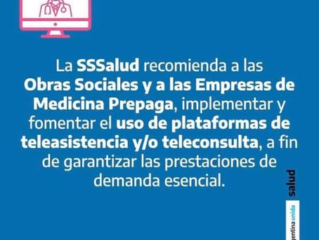 """""""La SSSalud recomienda a las OS y empresas de medicina prepaga fomentar la teleasistencia¨"""