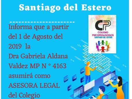 Nueva asesora legal del Colegio de Psicopedagogos de Santiago del Estero