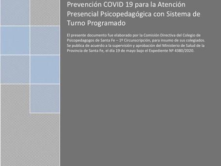 """""""Protocolo elaborado por el Colegio de Profesionales de la Psicopedagogía de Santa Fe"""""""