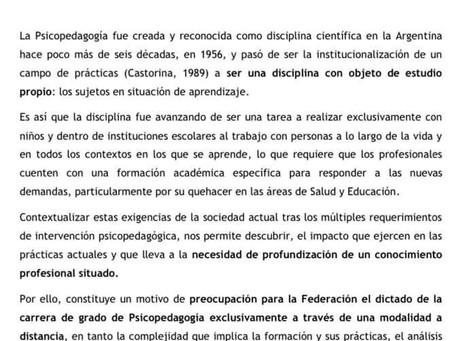 La Junta Ejecutiva de la Federación Argentina de Psicopedagogos declara: