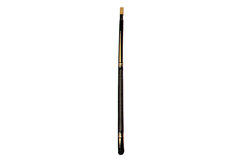 "57"" 2-Piece Maple Cue - Black with Iridescent Gold Swords"