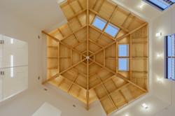 木の天井 6角形