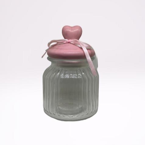 Jarro de vidro com trampa rosa com coração em porcelana (Pequeno)