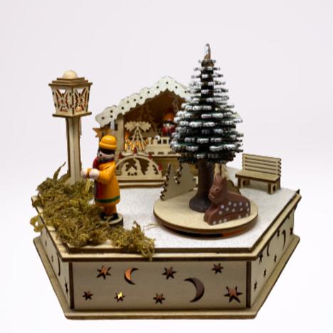 """Caixa de música """"Aldeia Natal"""" em madeira, com luz"""